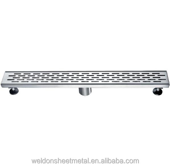 "24"" Long Modern Stainless Steel Linear Shower Drain with Groove Holes"