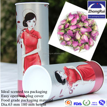 Top quality round paper cardboard box with tin plug cover for red flower tea