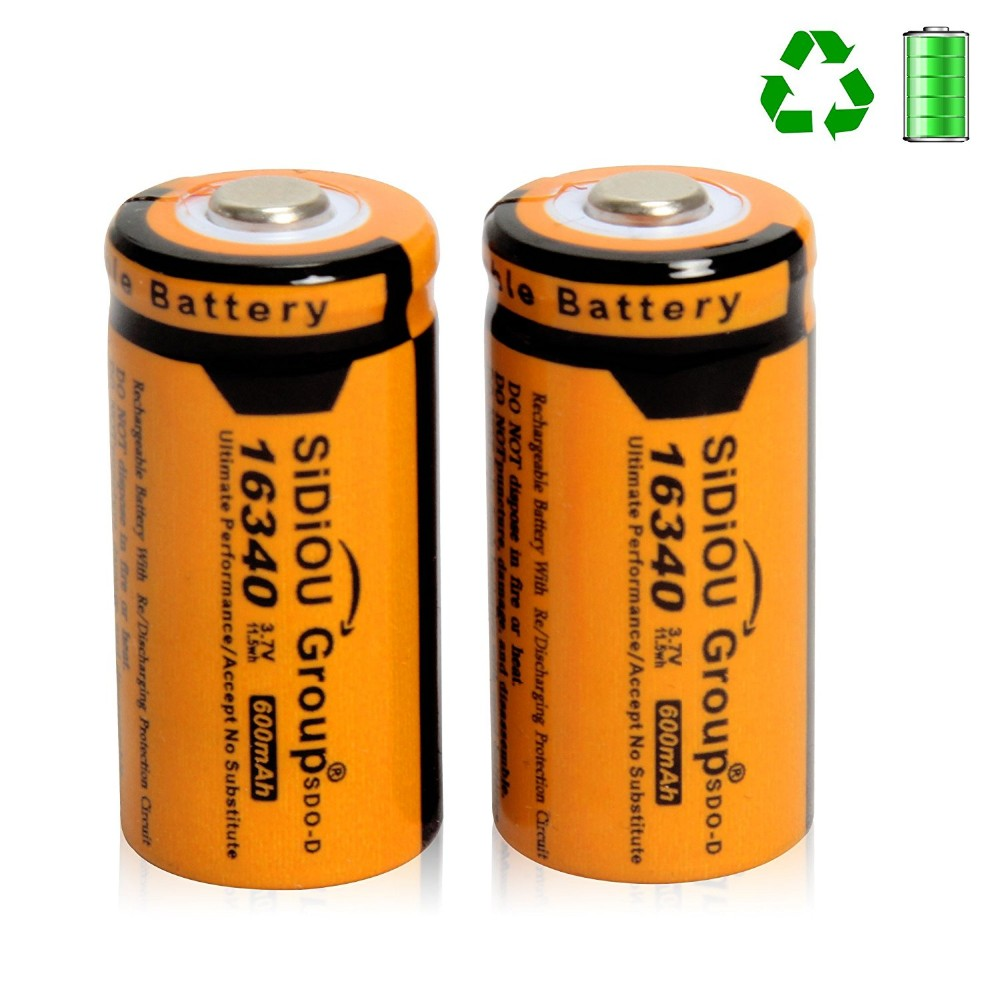 Sidiou Group 16340 Lithium Battery 3.7V 600mAh Rechargeable Battery for LED flashlight (A Set of 4 Pieces)