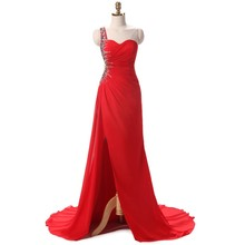 Red Prom Dresses with Slit Sexy Front Split One Shoulder Side Cut Out Mermaid Style 2018 Dresses Evening Wear for Ladies