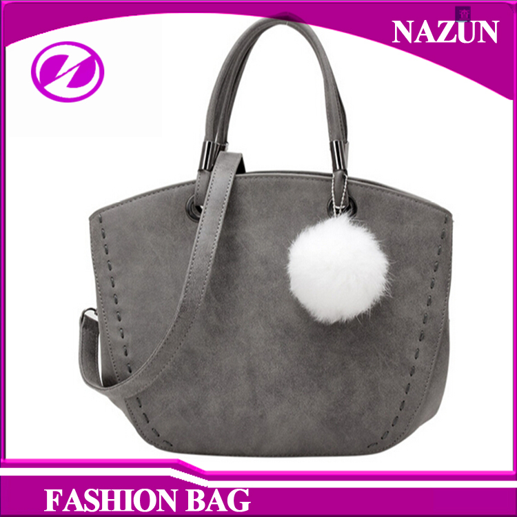 wholesale 2016 fur tassels gray fancy style shell traveling material ladies leather indian tote bag