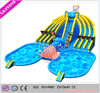 CE Outdoor Inflatable Moving Water park / Inflatable Water Park slide For Sale