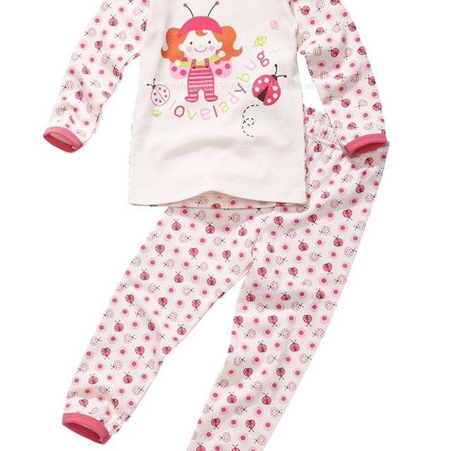 Organic cotton 100% girl slim sleepwear pajamas kids underwear love lady bug