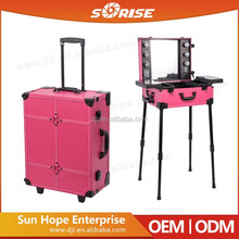 SUNRISE Wholesale Beauty Professional PVC Material Train Trolley Makeup Case With Lighted Mirror