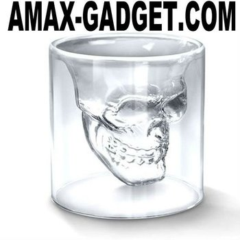 mug-013 skeleton glass Creative designed skeleton shape double layers beer glass