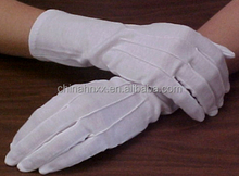 long-wristed white parade gloves