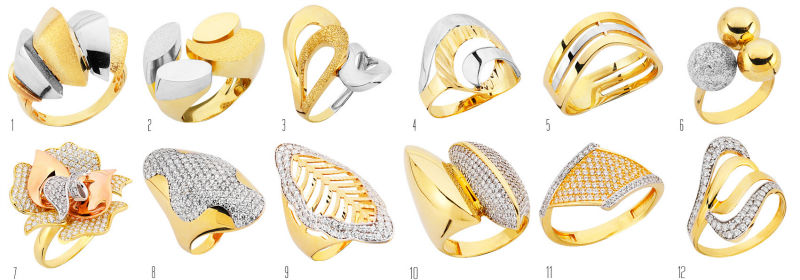 Zirconia Yellow White Rose Gold Rings 14k 18k gold jewellery