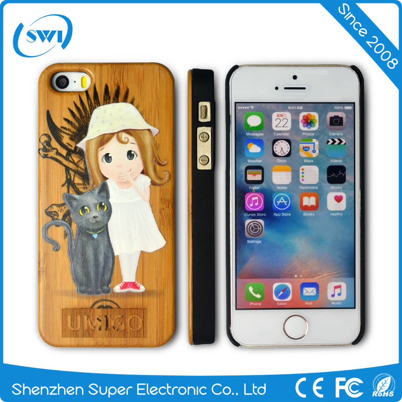 Best 3D effect design PC Wood Phone Case for iphone 5 6,Wholesale Cartoon PC Wood Laser Case for iPhone 5 6
