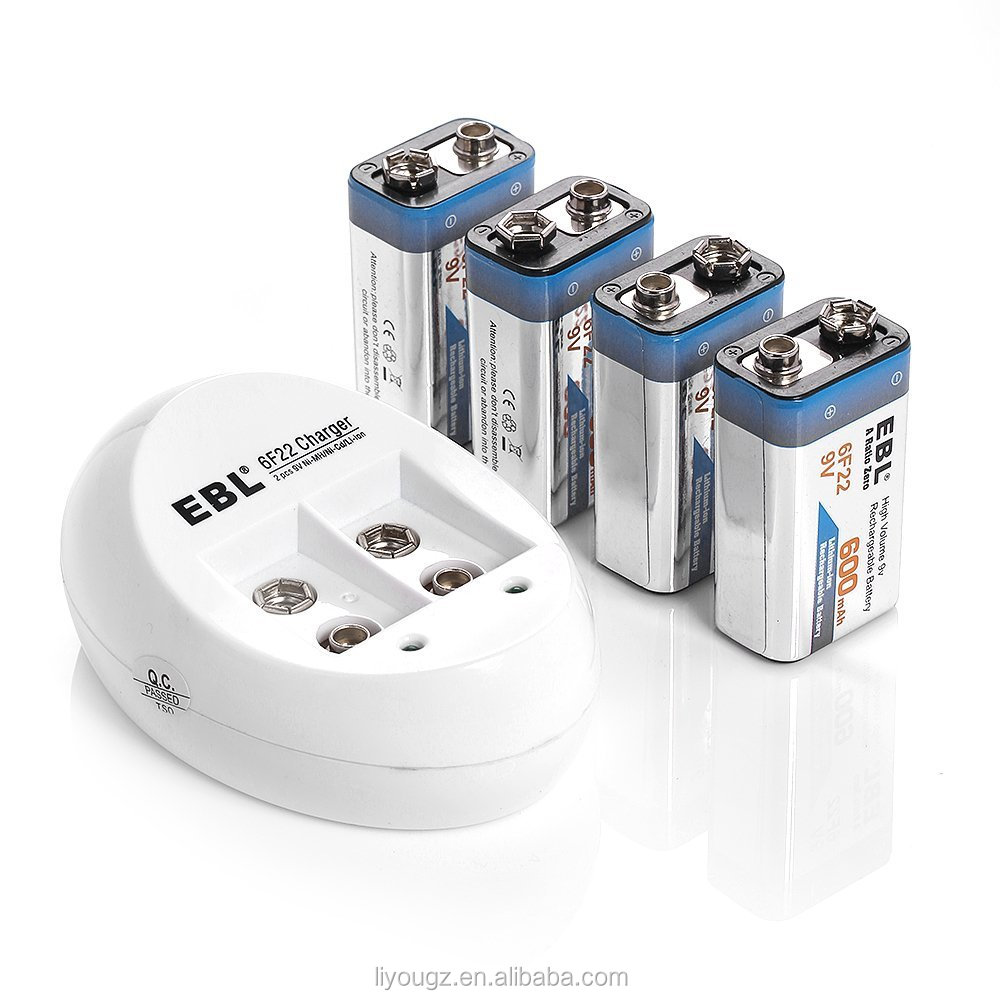 HOT!!! EBL 840 9V Li-ion Ni-MH NI-CD Battery Charger with 4pack 9 Volt 600mAh Lithium-ion Rechargeable