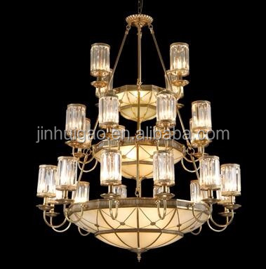 Antique Brass Chain Copper Chandelier With Clear Glass Ceiling Lamp Chandelier Lighting
