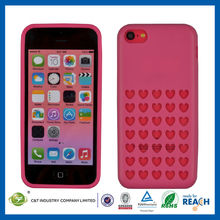 C&T New heart style polka dot hole color case for iphone 5c