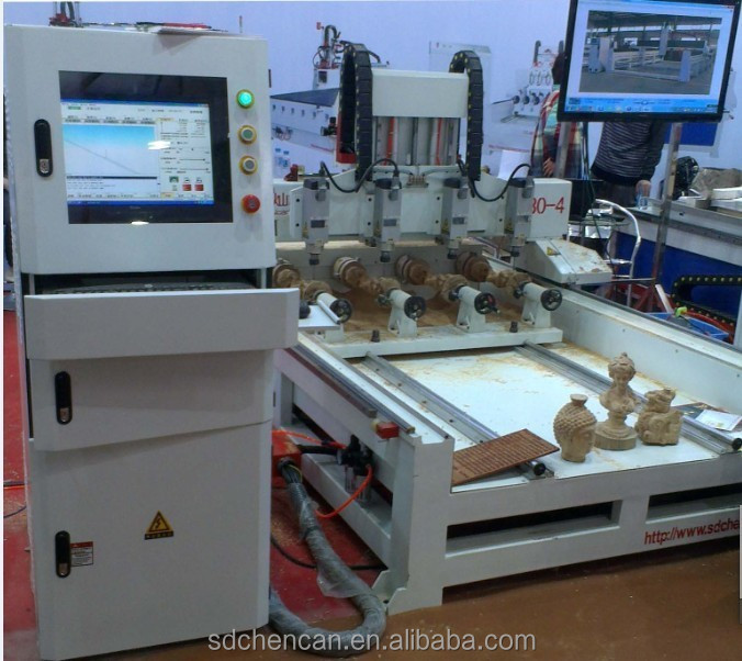 wood carpentry machines with 4 spindle and 4 rotaries do 3d cutting work