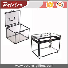 exquisite high grade food cosmetic transparent acrylic box with handle