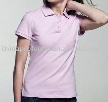 100% cotton women's short sleeve polo shirt