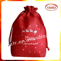 custom design red non woven fabric drawstring name brand backpack bag for candy with rope