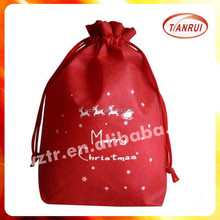 custom red non woven fabric Christmas gift packing drawstring name brand backpack bag for candy with rope