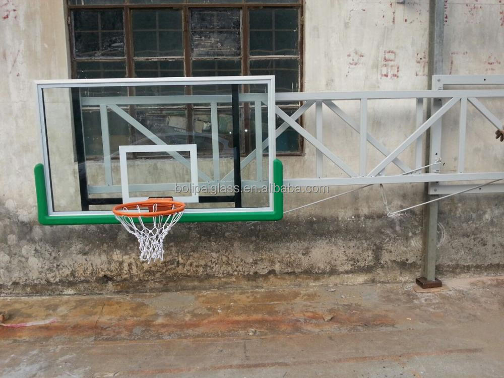 Custom Design removable Basketball Stand With tempered Glass Backboard and slam dunk rims, portable and side-folding backboard