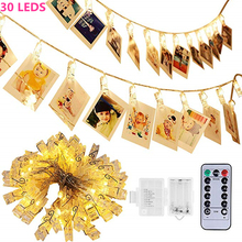 30 LEDS 9.8Ft IP65 Timer Remote Control Home Decor Photo Clip Micro Led Fairy Light String