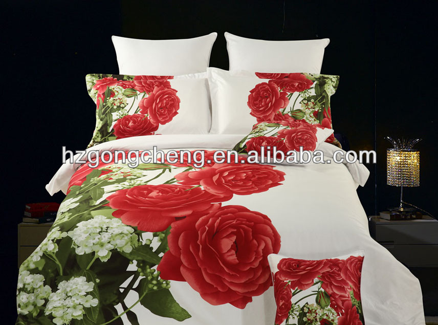 3D Oil painting flower bedding set,Queen 4PCS