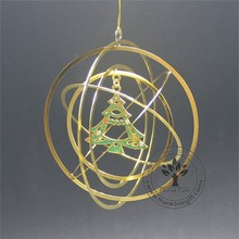 2017 Christmas favor new hot 3d metal Christmas ornament with printing Christmas tree