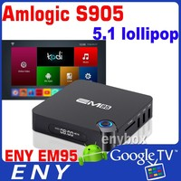 2016 NEW pental-core GPU em95 tv box s905 live streaming tv box kodi fully loaded 4k google tv