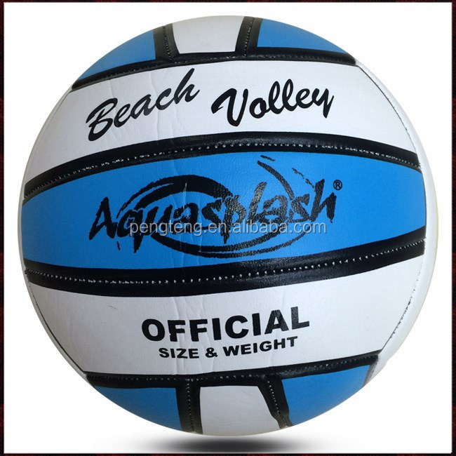 machine sewn white volleyball ball