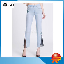 casual middle rise denim pants trousers oem embroidered slim fit waisted women's capri jeans