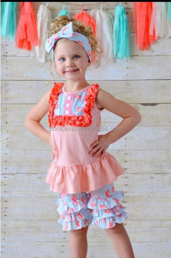 flamingos printed summer children boutique outfit for child models top 100