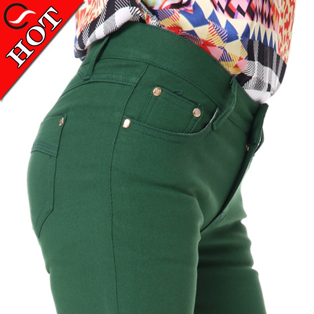 New women leggings jeans pencil stretchy bitt lift pants jeans with green colored jeans made in china