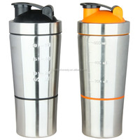 Fit Shaker Plus Stainless Steel Protein Shaker Bottle with 2 Compartments & Shaker Ball Dishwasher Safe BPA Free