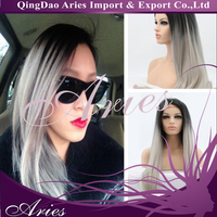 1b/grey# synthetic hair silver grey ombre front lace wig