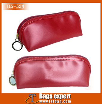 Small red pvc leather eyebrow pencil cosmetic bag