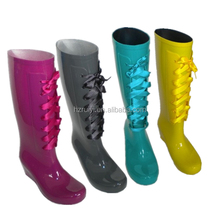 fancy lace up pvc boots with various colors,fashion knee high boots women,adjustable long rain boots