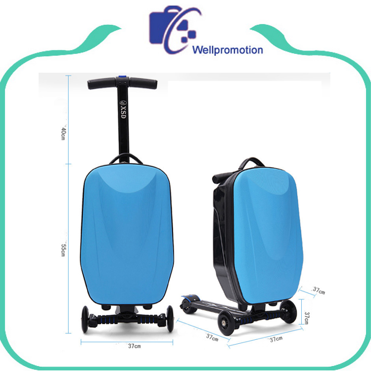 Aluminum Alloy Frame 100% PC Travelling Luggage With Scooter