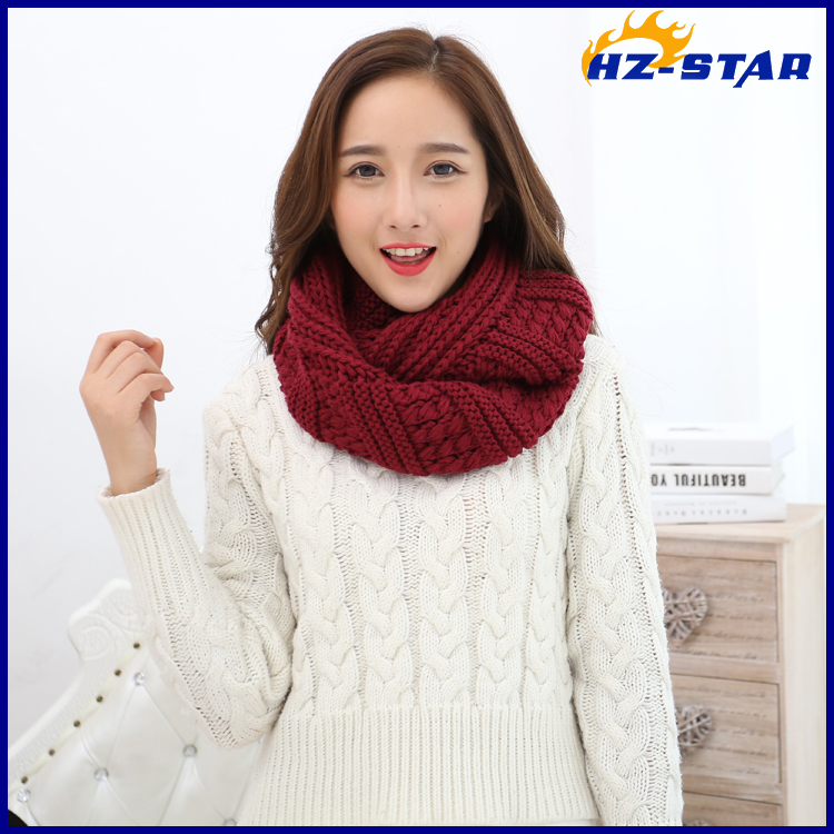 HZW-14883003 2017 Lady Fashion Circle Loop Colorful Thick Warm Women Winter Knit Infinity Scarf