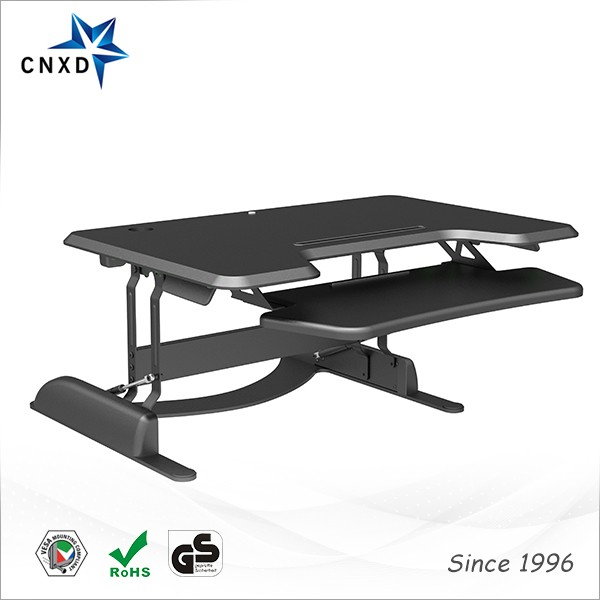 Pre-assembled height adjustable sit/stand computer workstation