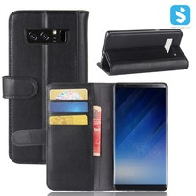 Flip Kickstand Genuine Leather Credit Card Holder Cash Pocket Protective Cover for Samsung Galaxy Note 8 6.3 inch Wallet Case