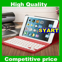 2014 Fashion ( Red ) Hot Sell Leather Protactor case cover with Wireless Keypad Bluetooth Keyboard For Apple ipad mini