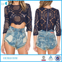 Wholesale Ladies Long Sleeve Crochet Lace Crop Top for womens clothing 2016