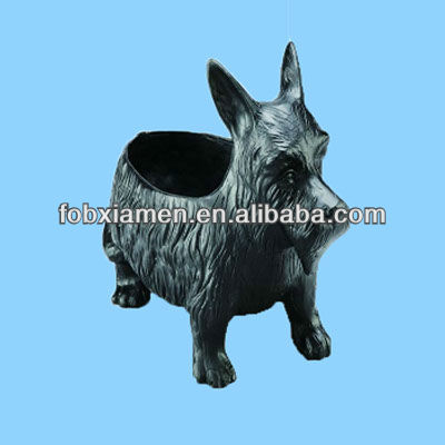 Resin Black Westie Garden Dog Flower Mini Pot Planter