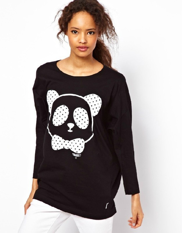 Free shipping Free shipping 2013 autumn/spring cute panda printing long-sleeved long loose casual women's T-shirt pullover tops
