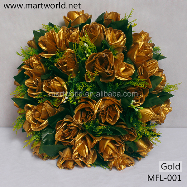 New 32cm diameter wholesale artificial flower;Decoration gold flower bouquet for home,hotel,party&wedding decoration(MFL-001)