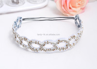 Cheap pretty handmade rhinestone crystal Girls Headband Flower White