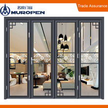 Australian standard AS2047 outdoor insulated safety glass bi folding door aluminium glass bi folding door accordian door