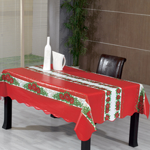 2018 new design christmas plastic tablecloth PVC with flannel backing