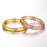SJ Free Shipping Best Gift Rhodium Plated Brass Alloy Gold&Rose Gold Cubic Zirconia Hollow Braided Bangle for Girlfriend