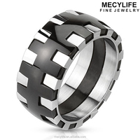 MECY LIFE Two Tone Silver And Black Gear Stainless Steel Flywheel Ring