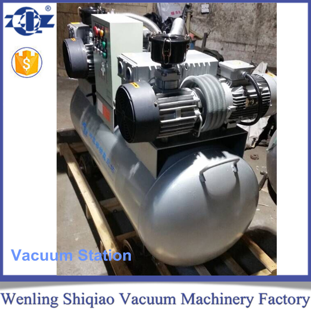 Single stage 3kw 100 m3/h rotary vane vacuum system with pressure tank