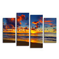 4 Panels Sea View Canvs Painting Sunset Beach Landscape Wall Picture for Living Room Ready to Hang on Wall/SJMT1929
