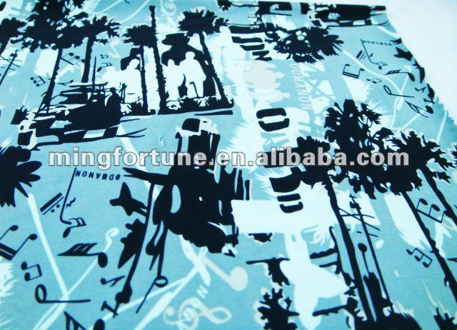 Leaf printed polyester spandex fabric